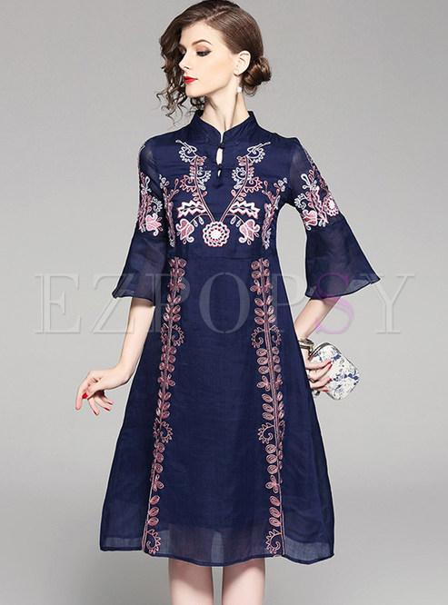 Navy blue vintage embroidered skater dress ezpopsy
