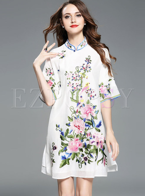 White Stand Collar Embroidered Shift Dress