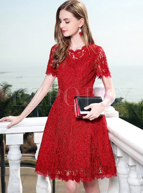 Skater Dresses.   Red Lace Short Sleeve ... feeaa7541