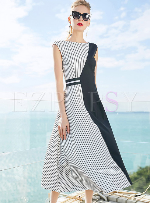 Hit Color Striped Sleeveless Asymmetric Dress