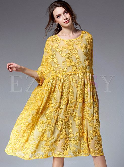 Dresses Shift Dresses Yellow Loose Embroidered Shift Dress