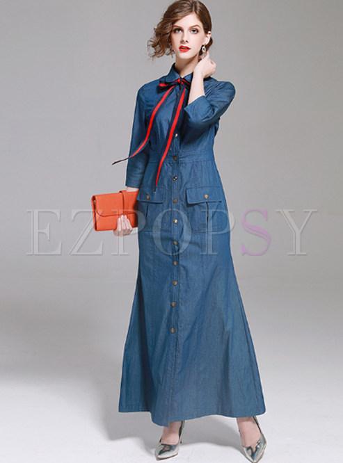 Blue Gathered Waist Single-breasted Denim Maxi Dress