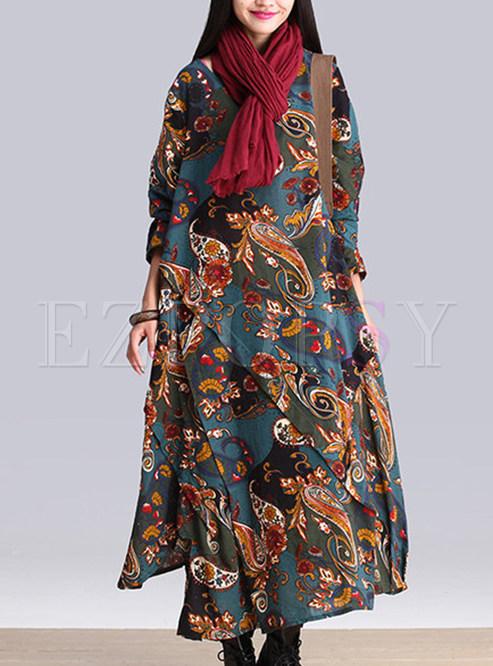 Blue Slit Asymmetric Hem Maxi Dress