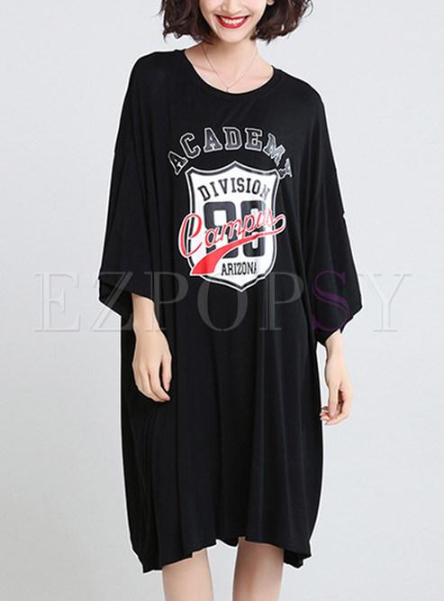 Dresses T Shirt Dresses Stylish Black Oversized T Shirt Dress
