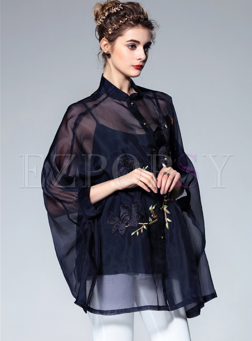 Blue Silk Embroidery Bat Sleeve Blouse