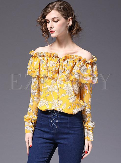 Yellow Sweet Floral Print Chiffon Blouse