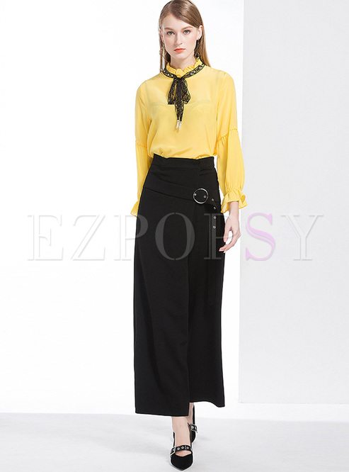 0c132e5028 Two-piece Outfits.   Yellow Falbala Tied-collar Blouse   Black Wide Leg  Pants