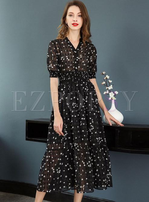 6de778914646 Maxi Dresses.   Star Design V-neck Short Sleeve Maxi Dress