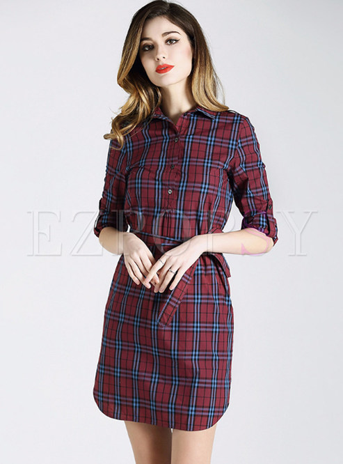 Stylish Grid Belted A-line Dress