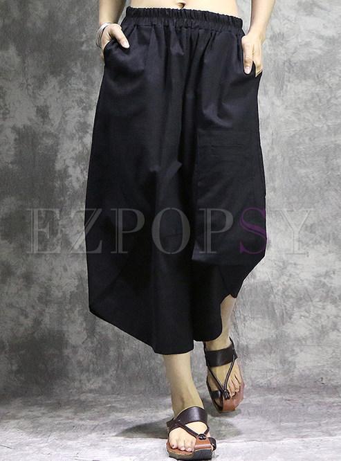 Black Asymmetric Wide Leg Pants