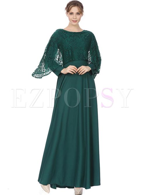 Cape Sleeve Maxi Dress