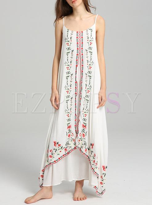 Bohemia Embroidery Asymmetric Slip Dress