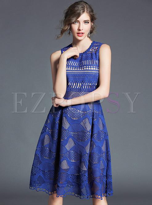Blue Lace Sleeveless Slim A-line Dress