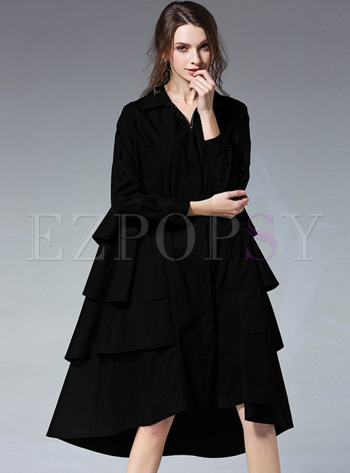 Chic Asymmetric Patch Lapel Oversized Dress