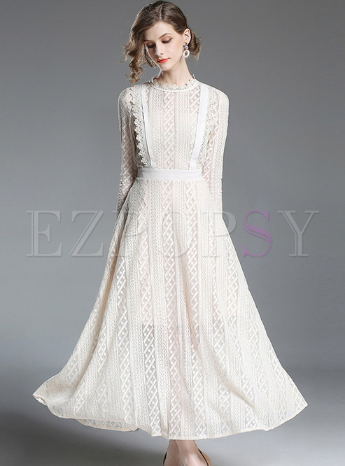 Lace Embroidered Big Hem Maxi Dress