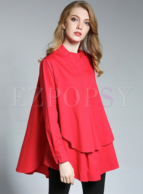 Brief Asymmetric Big Hem Blouse