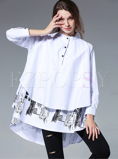 Plus Size Mock Neck Print Blouse