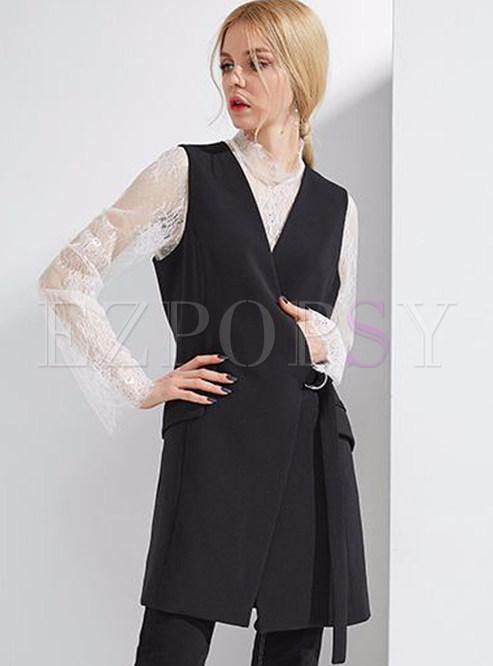 Graceful Pure Black V-neck Slender Vest