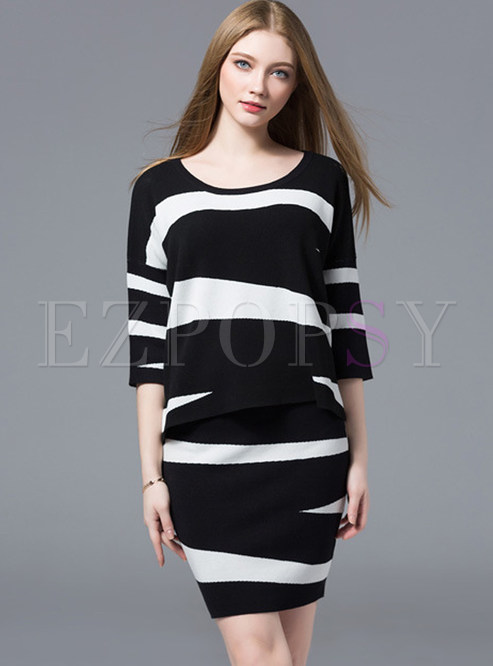 Hit Color Geometrical Pattern Knitted Two-piece Outfits
