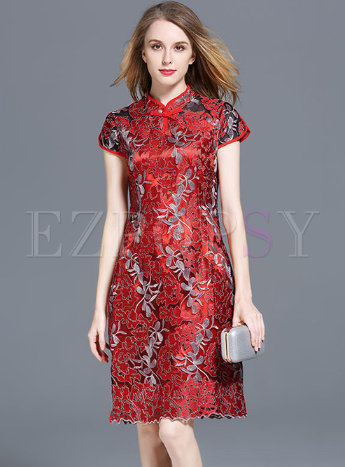 Red Embroidery Improved Cheongsam Dress