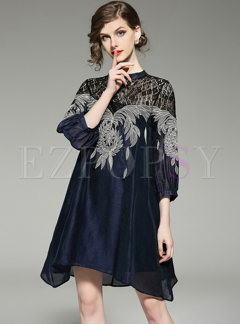 Loose Embroidery Asymmetric Hem Shift Dress