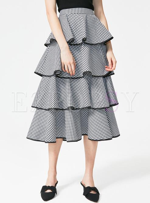 Elegant Grid High Waist Skirt