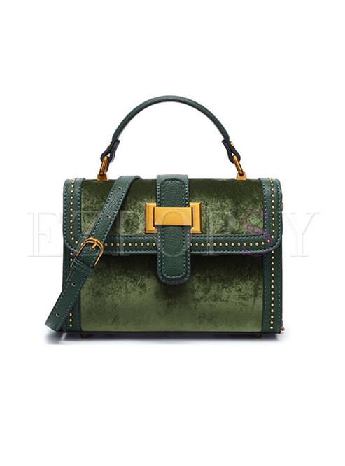 Brief Rivet Suede Crossbody & Top Handle Bag