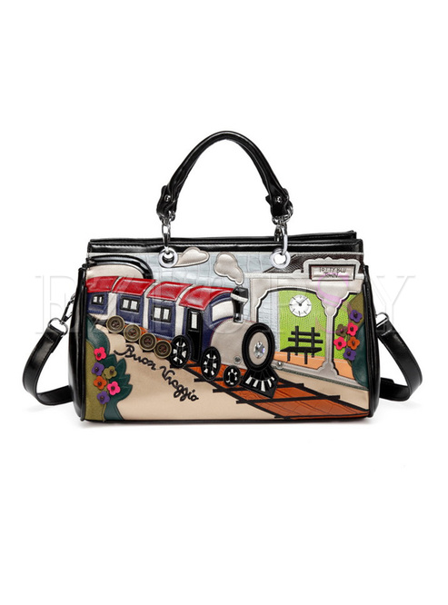 Vintage Train Pattern Top Handle Bag