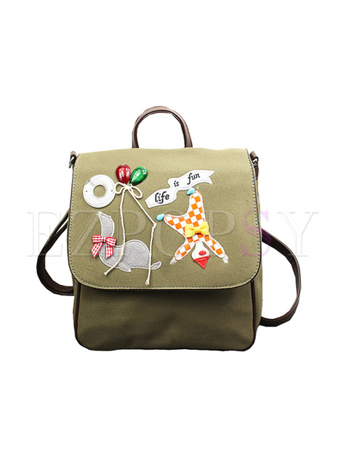 Casual Cute Embroidery Canvas Backpack