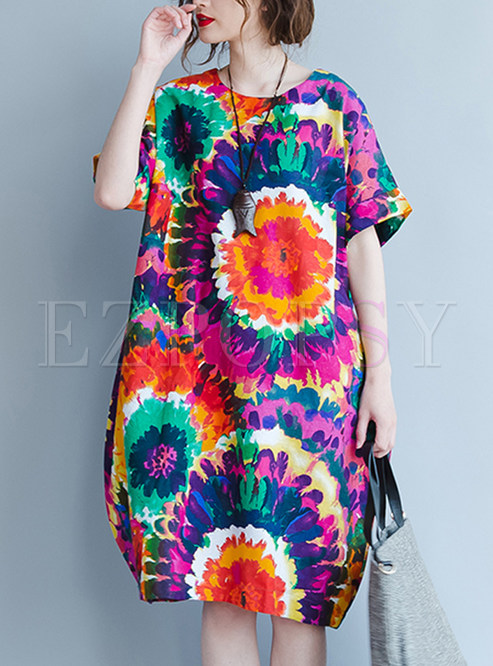 Ethnic Multi-color Print Short Sleeve Shift Dress
