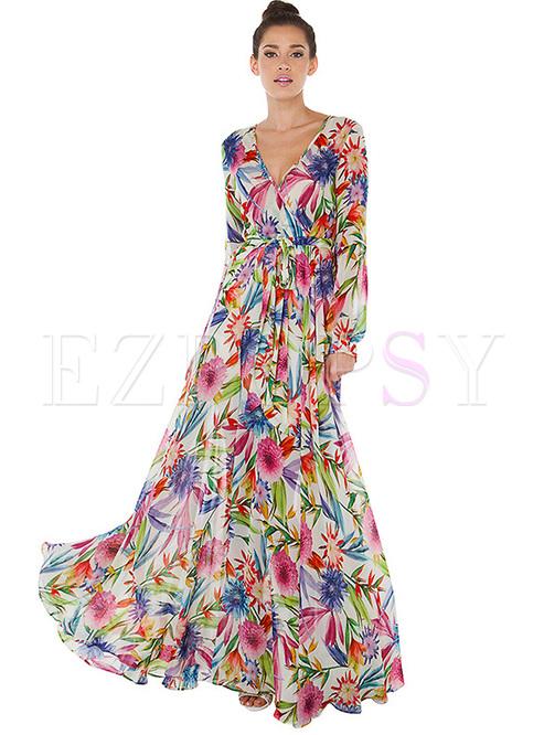 Boho V-neck Long Sleeve Floral Maxi Dress