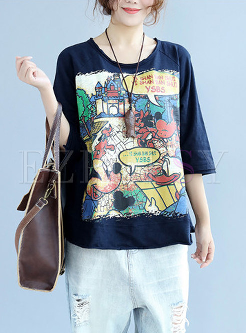 Navy Blue Cute Loose O-neck T-shirt