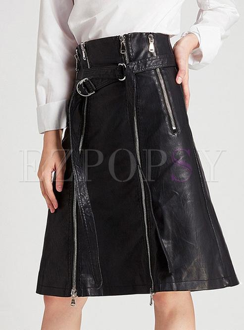 Black Slim Zippered PU Skirt