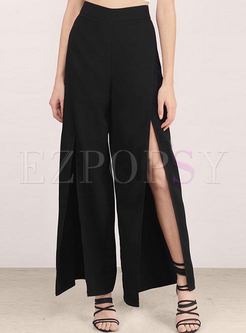 Black High Waist Split Wide Leg Pants