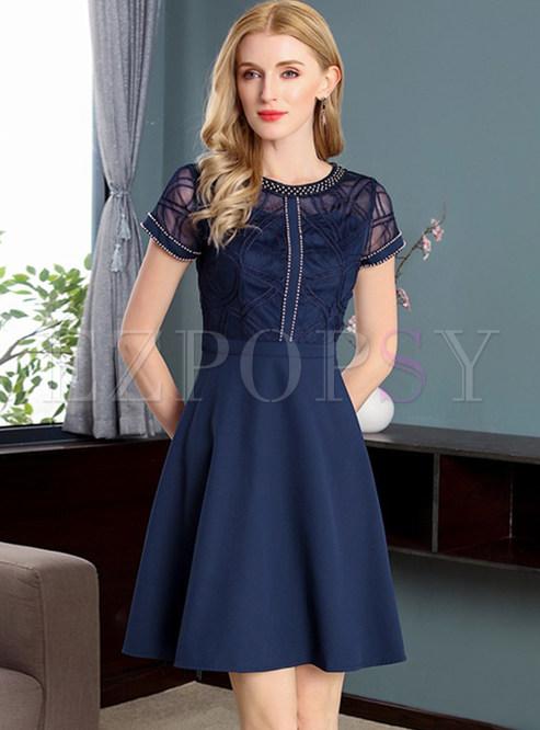 Short Sleeve Navy Dress