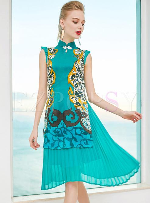 Chic Stand Collar Print A-line Dress