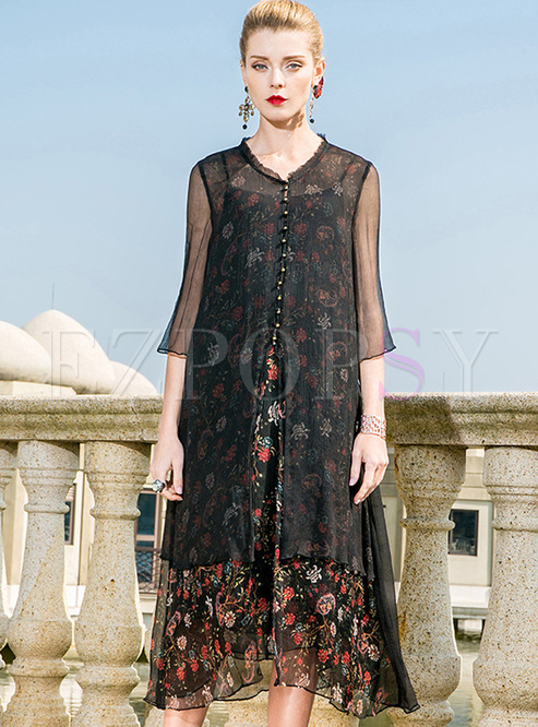 Street Floral Print Silk Shift Dress