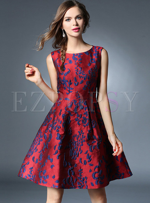 Wine Red Jacquard Sleeveless Skater Dress