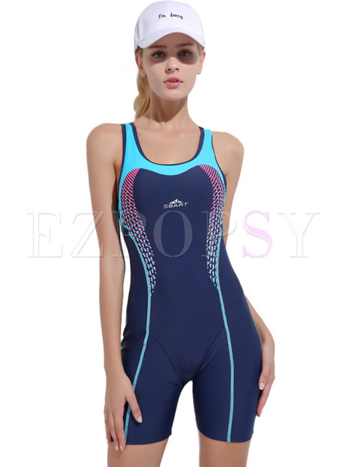 Stylish Color-blocked Halter Neck Swimwear With Falsie