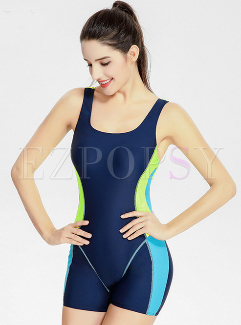 Brief Color-blocked Scoop Neckline One-piece Swimwear