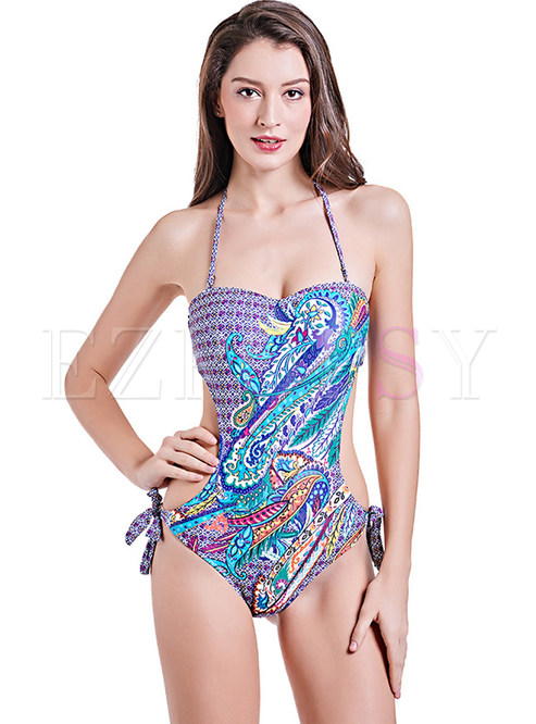 Chic Floral Print Tied Swimwear