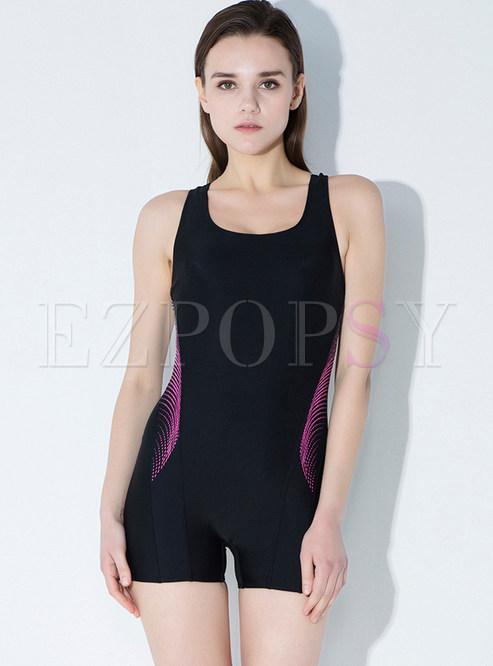 Brief Color-blocked Elastic Swimwear
