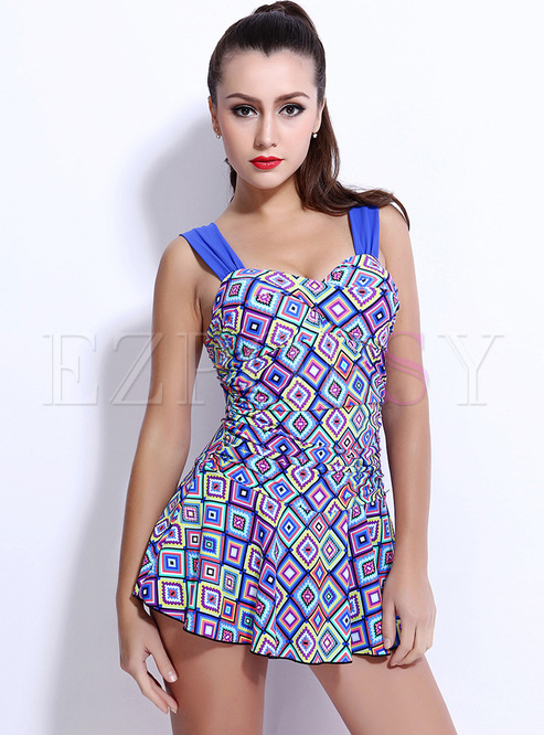 Ethnic Floral Print One Piece Swimwear