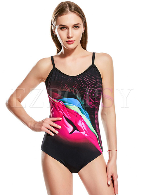 Multi-color Print Sport Swimwear