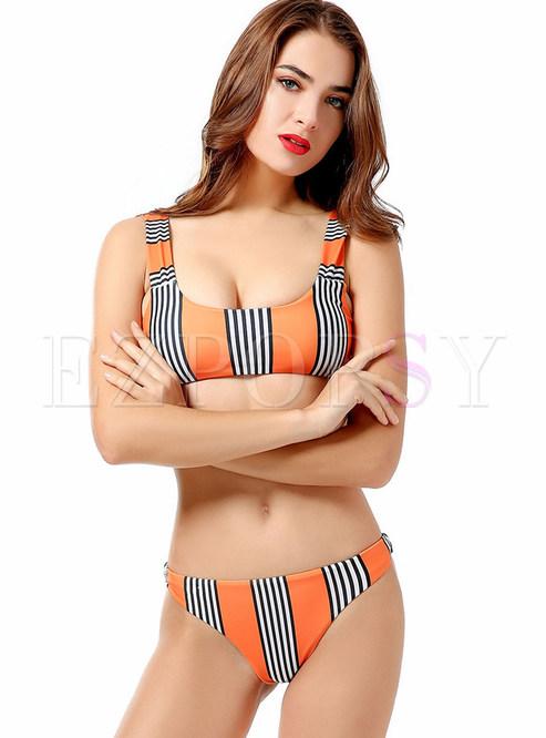 Orange Striped Scoop Neckline Bikini