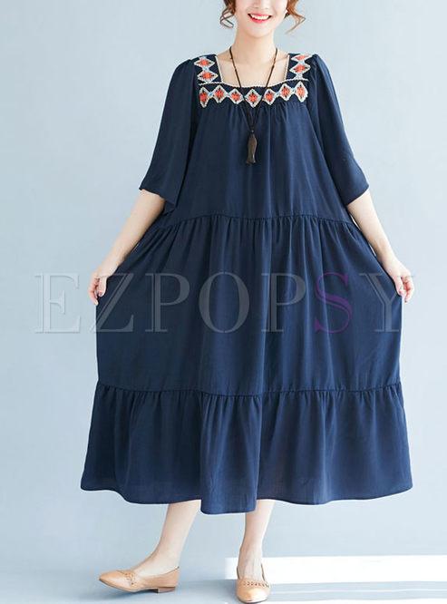 Ethnic Falbala Loose Square Neck Maxi Dress