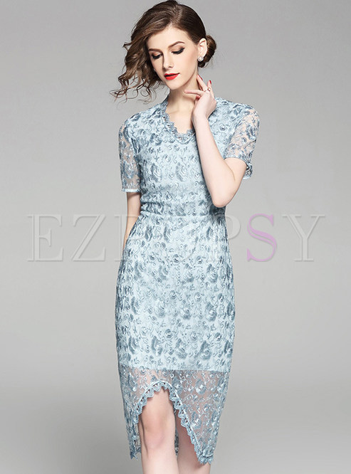 Blue Stylish Embroidered Bodycon Dress
