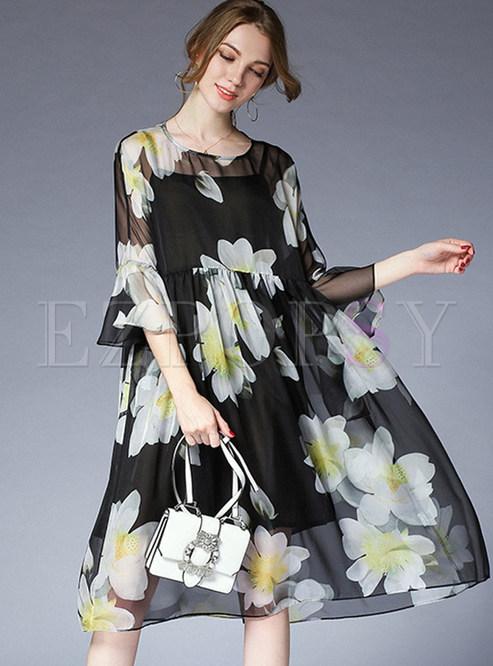 Chiffon Lotus Leaf Sleeve Shift Dress