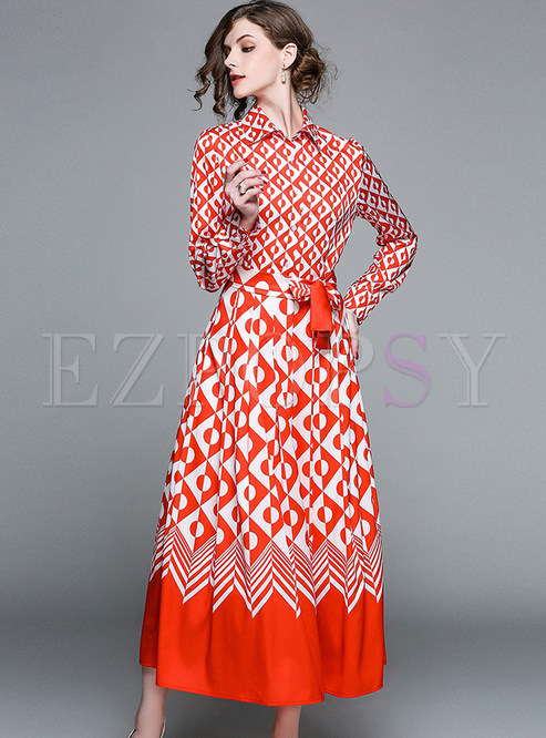 Red Ethnic Geometry Patter Belted Maxi Dress