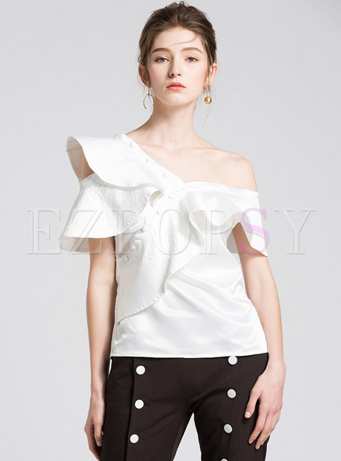eb2c42b1b9c05 Blouses.   White One Off Shoulder Falbala Blouse